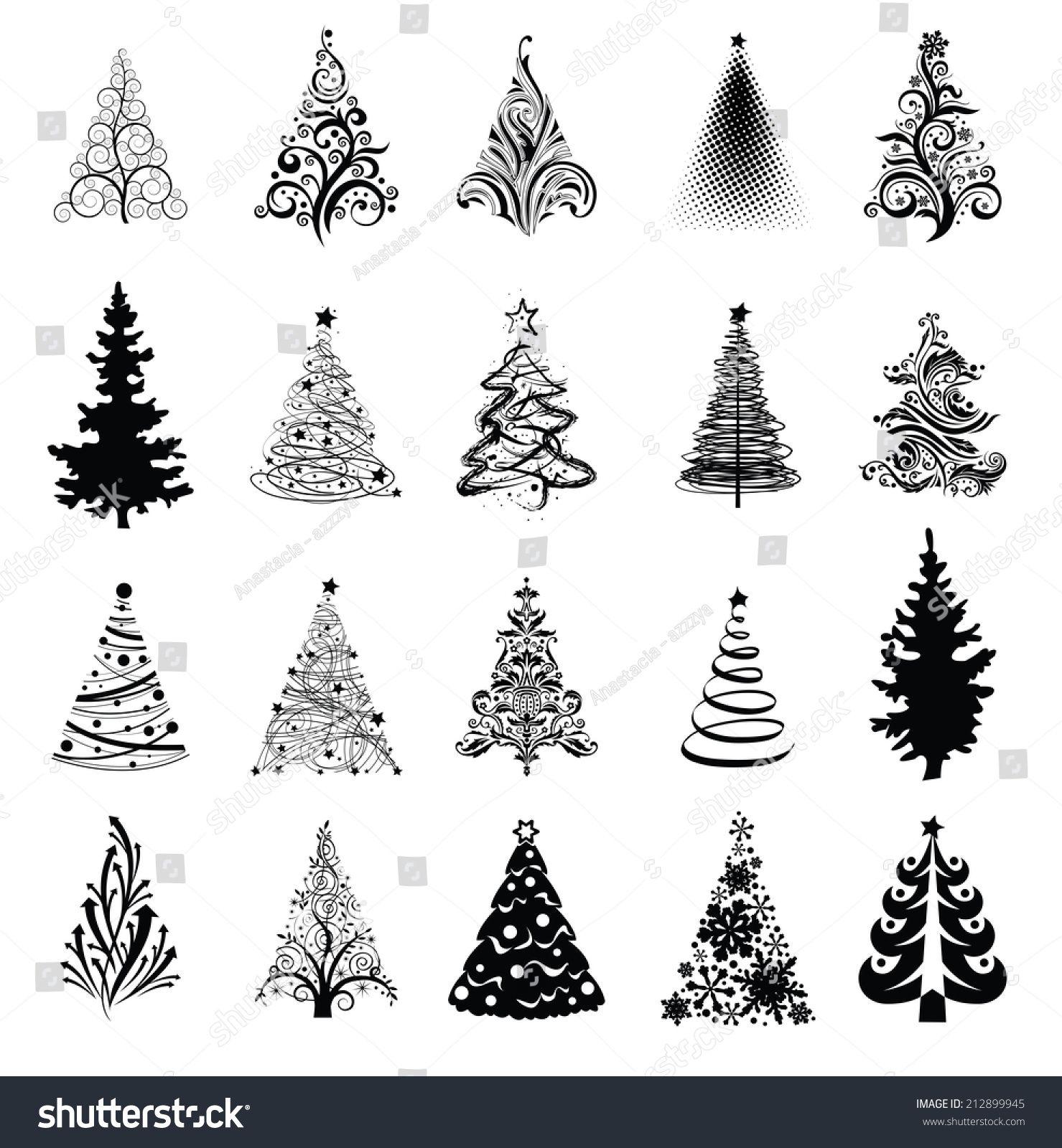 Various Stylized Christmas Trees Vector Eps8 Dessin Sapin De Noel Dessin Noel Carte Noel