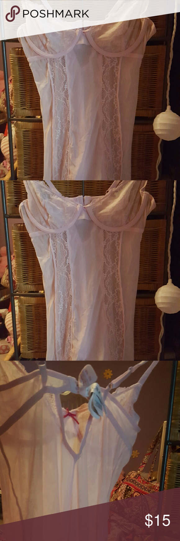 Nwot Pink lingerie Baby pink lingerie apparel. See through on tummies area Forever 21 Intimates & Sleepwear Chemises & Slips