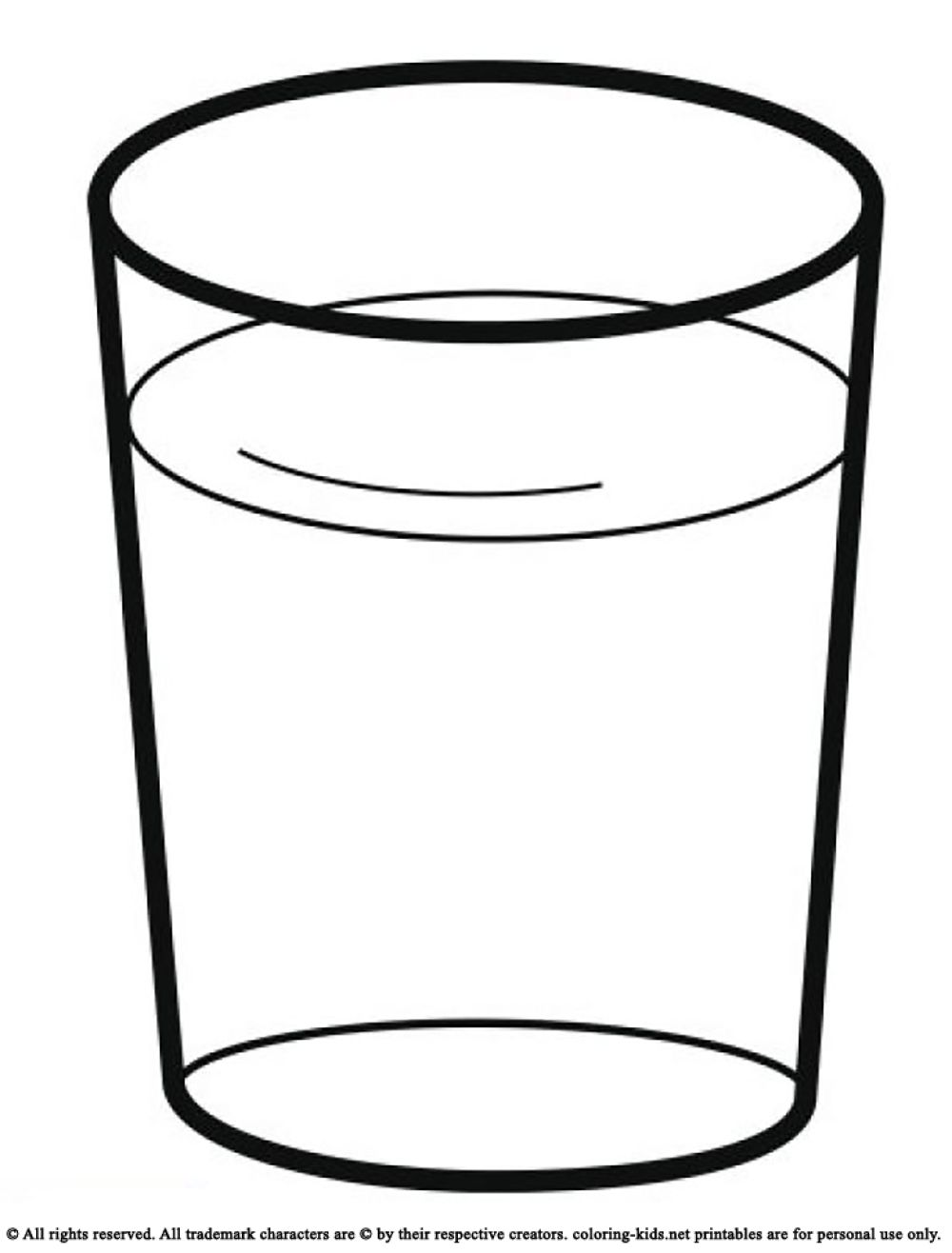 Glass Cup Coloring Page Drink A Glass Of Water...