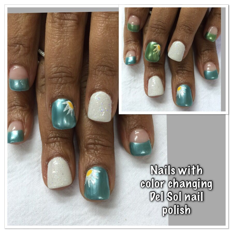 Gel nails topped with color changing nail polish from Del Sol. Very ...