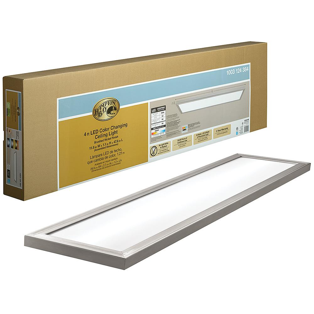 Hampton Bay 48 In X 12 In Low Profile Selectable Led Flush Mount Ceiling Flat Panel Brushed Nickel Rectangle 4000 Lumens Dimmable 54325111 The Home Depot In 2020 Led Flush Mount Hampton Bay Flush Mount Ceiling