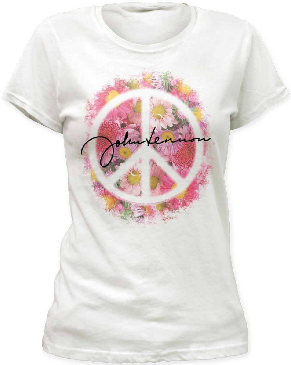 John Lennon Women S T Shirt John Lennon Signature With Flowers And Peace Sign Vintage White Shirt T Shirts For Women T Shirts Uk Ladies Tops Fashion