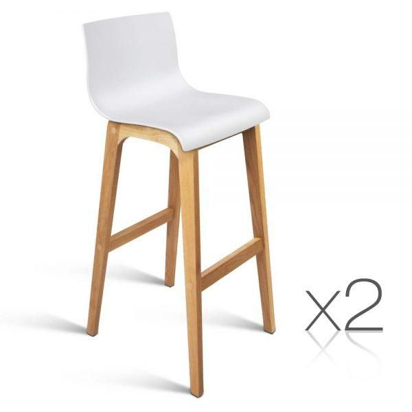 Solenne High Seat Back Fixed Leg Oak Wood Bar Stool In White Set