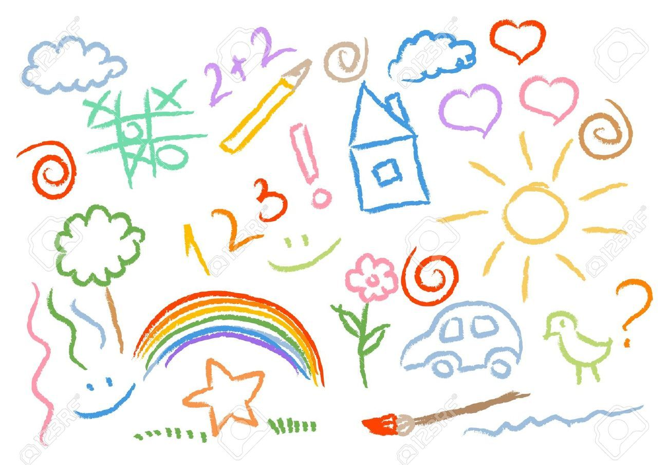 Uncategorized Draw Kids children drawing multicolored symbols vector set royalty free cliparts vectors and stock illustration