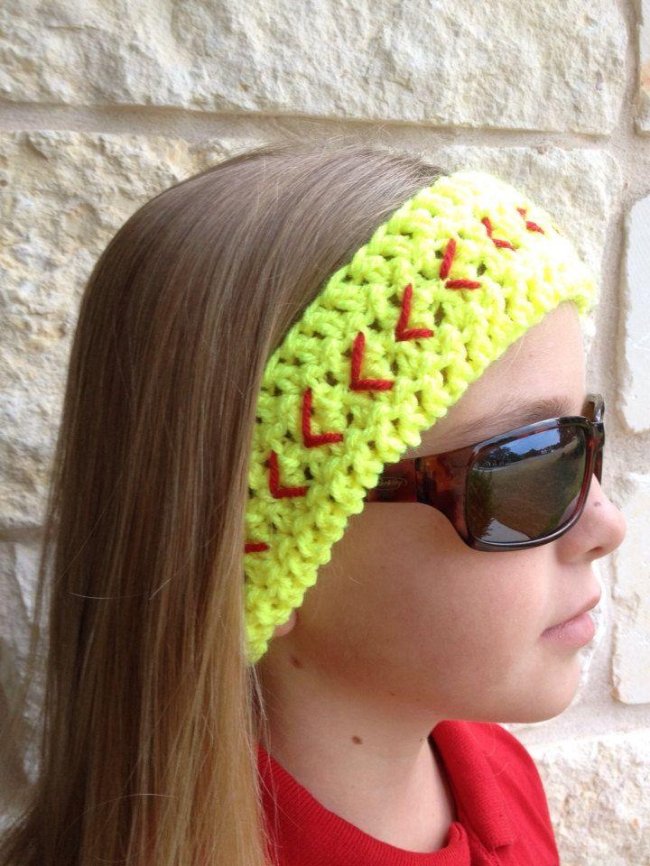 Softball+Headband+Crochet+Headband+Softball+Ear+by+SoftballStitch,+$ ...