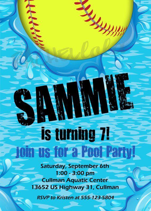 softball pool party birthday invitation printable template swim