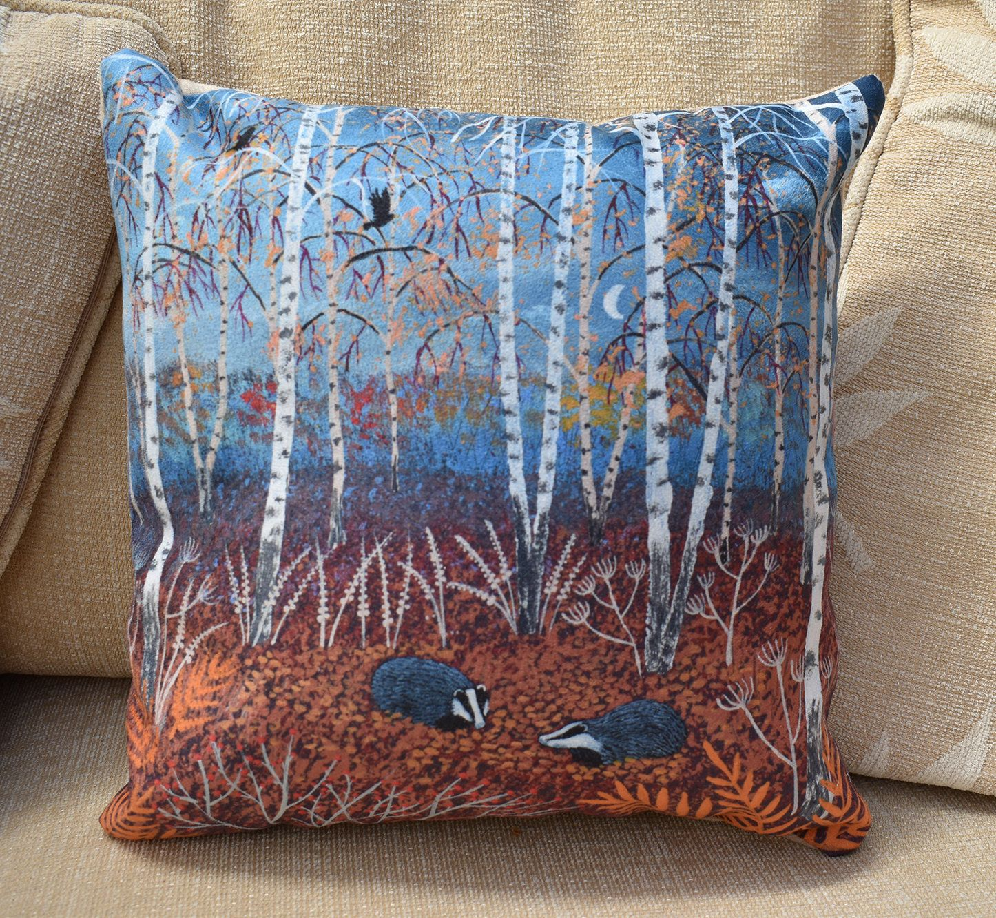 12x12 inch faux suede cushion of autumn scene with badgers digitally printed from an original painting 'The Badgers of Autumn Wood' #autumnscenes