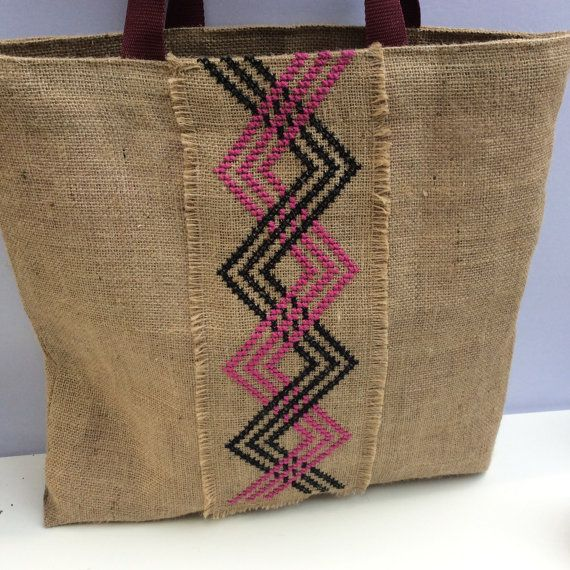 Burlap tote bag, cross stitched with tribal pattern, hand embroidered, one of a kind beach tote bag, handmade tote bag, Casual Tote Bag