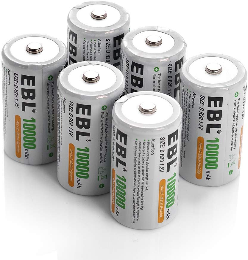 Amazon Com Ebl D Battery D Size Rechargeable Batteries 10 000mah Ni Mh Pack Of 6 Procyco Technology Electro Rechargeable Batteries Battery Sizes Batteries