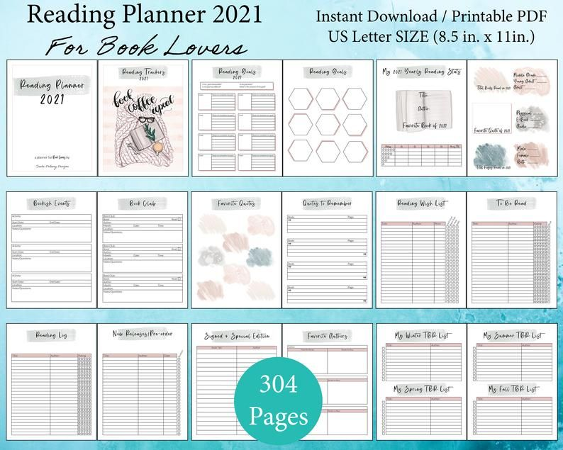Yearly Reading Planner 2021 Printable Pdf Book Trackers For Etsy In 2021 Reading Planner Planner 2021 Planner Book