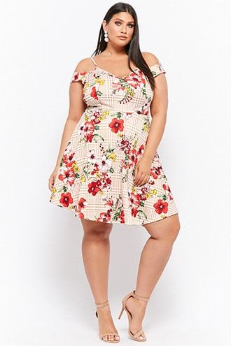 Plus Size Floral Houndstooth Fit Flare Dress Products