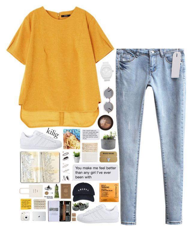 """O V E R A N X I O U S"" by messyqueen ❤ liked on Polyvore featuring мода, adidas, adidas Originals, Comodynes, The Row, Stila, Moleskine, Topshop, Christy и Chronicle Books"