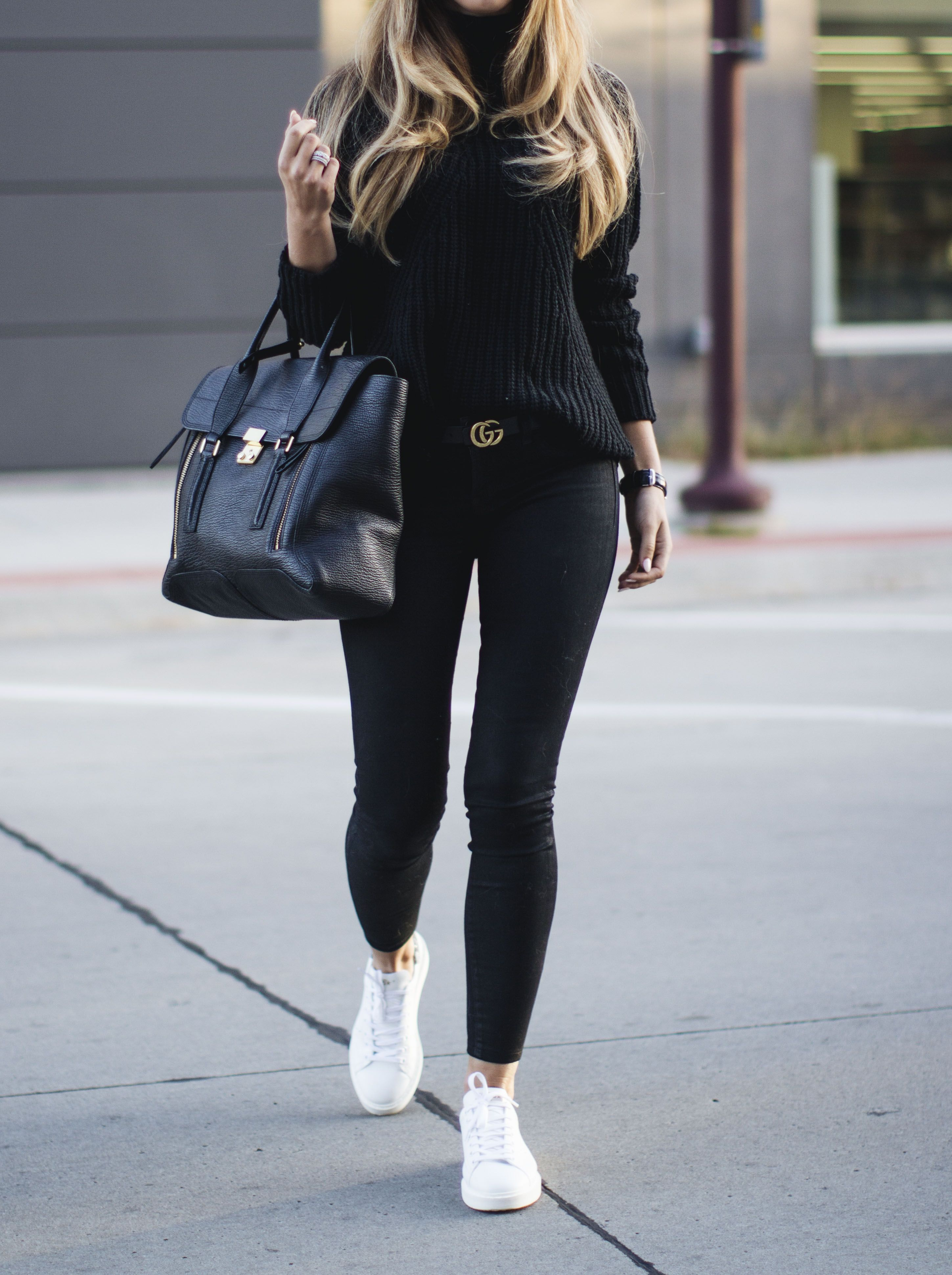 f46fa1a1c Black sweater + Gucci Belt + Coated jeans + White sneakers   Outfits ...