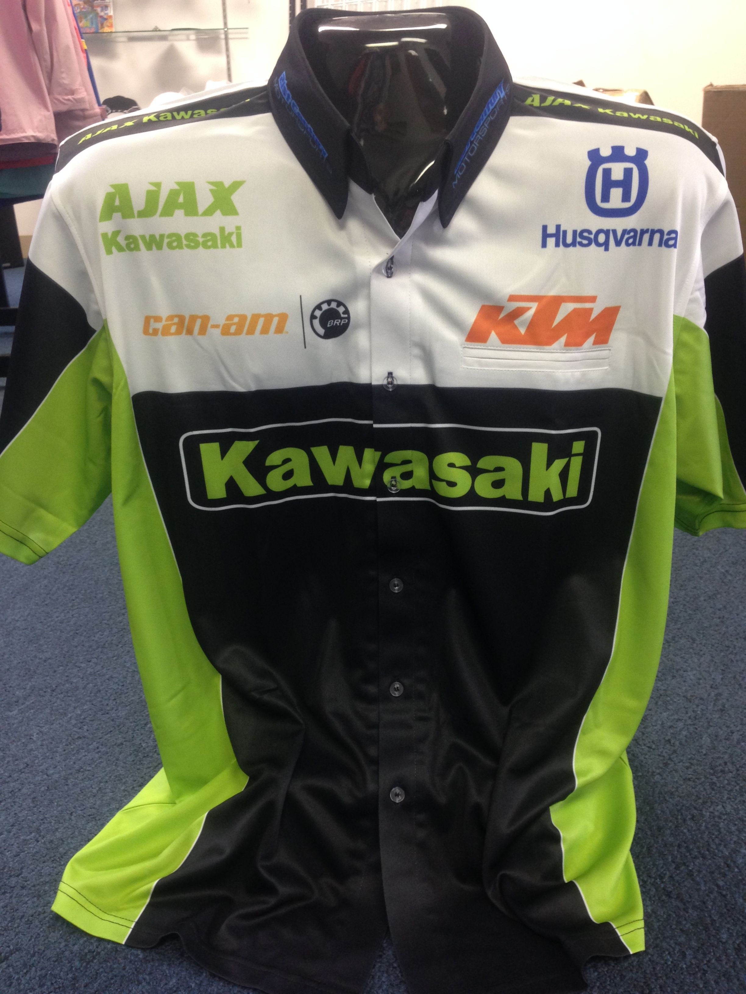 Totally Custom Designed Sublimated Pit Crew Shirts Overseas