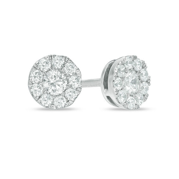 1 3 Ct T W Composite Diamond Stud Earrings In 10k White Gold Diamond Studs Stud Earrings White Gold