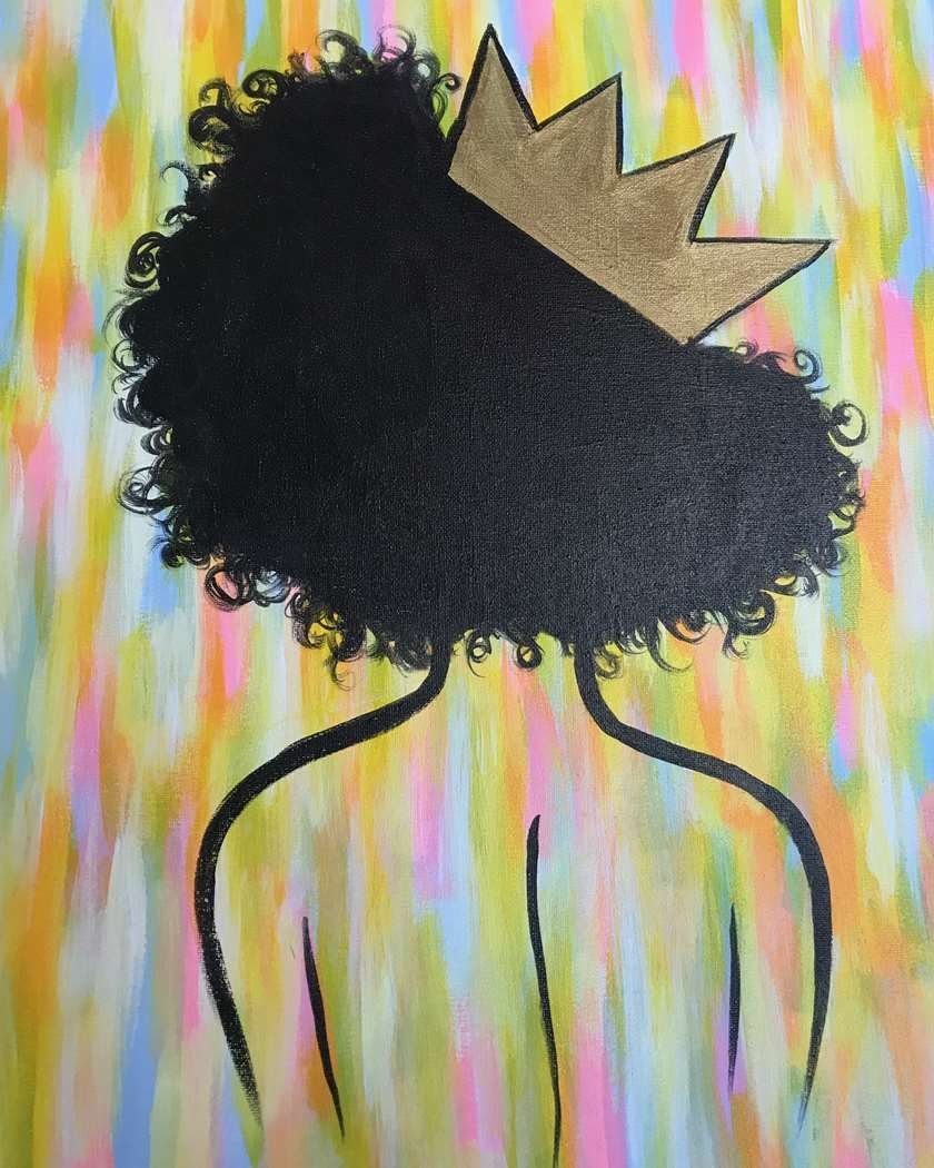 Queen Of Curls Is The Painting For A Girls Night Out Get Your Crew Scheduled To Paint It At Pinot S Palet Black Art Painting Black Art Pictures Afro Painting