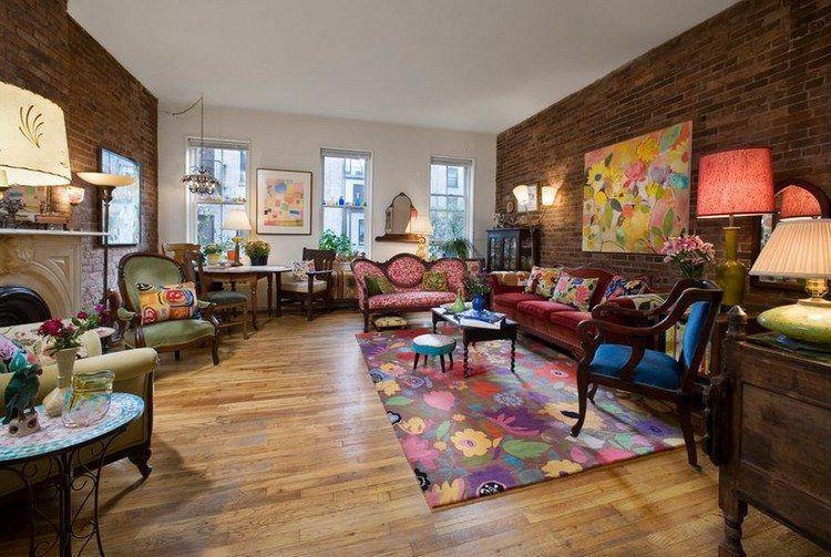 Idee deco style lounge vinctorien colored carpet flooring massive