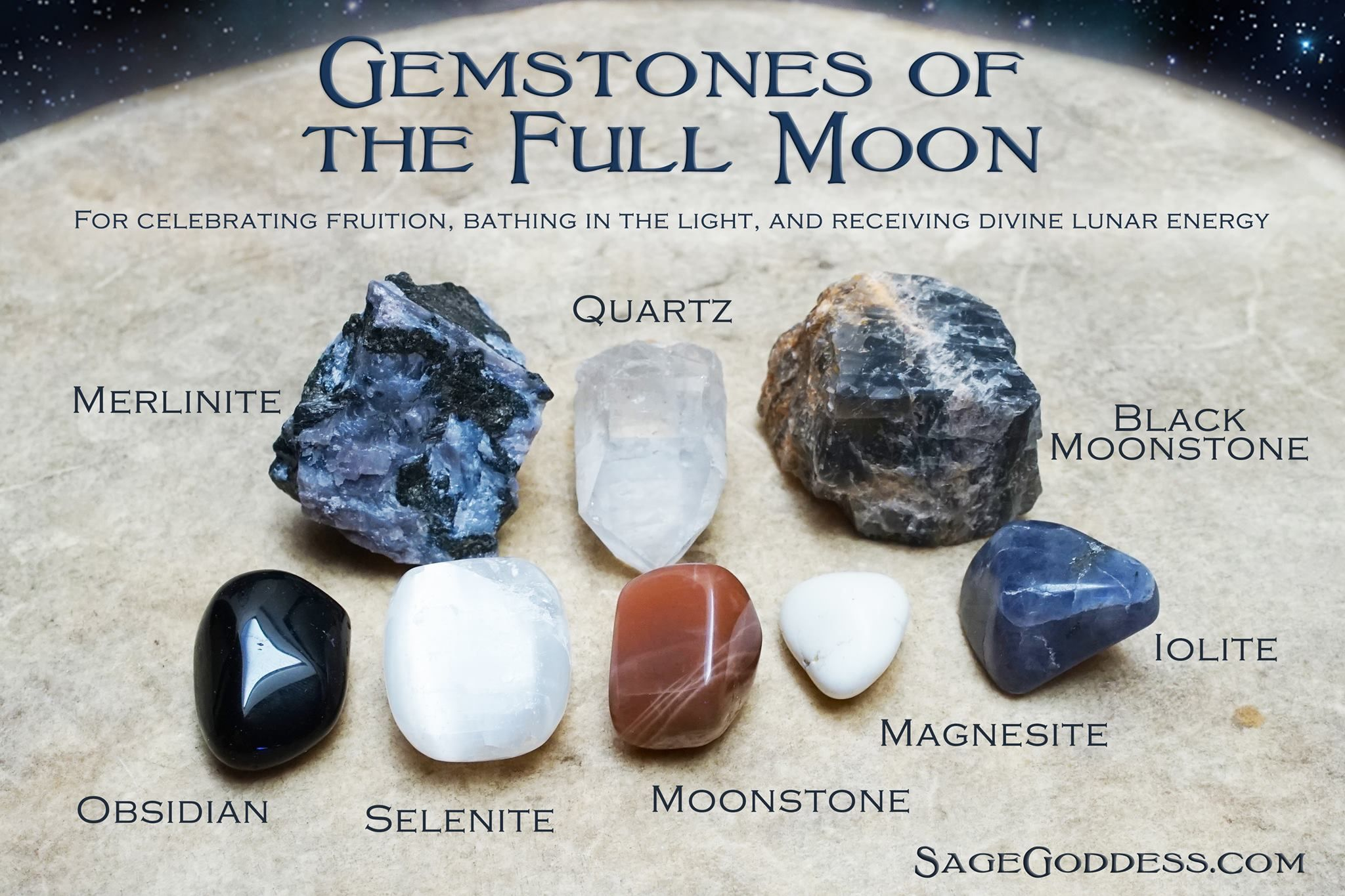 Full Moon Gemstone Set 2.0 for working with the energies