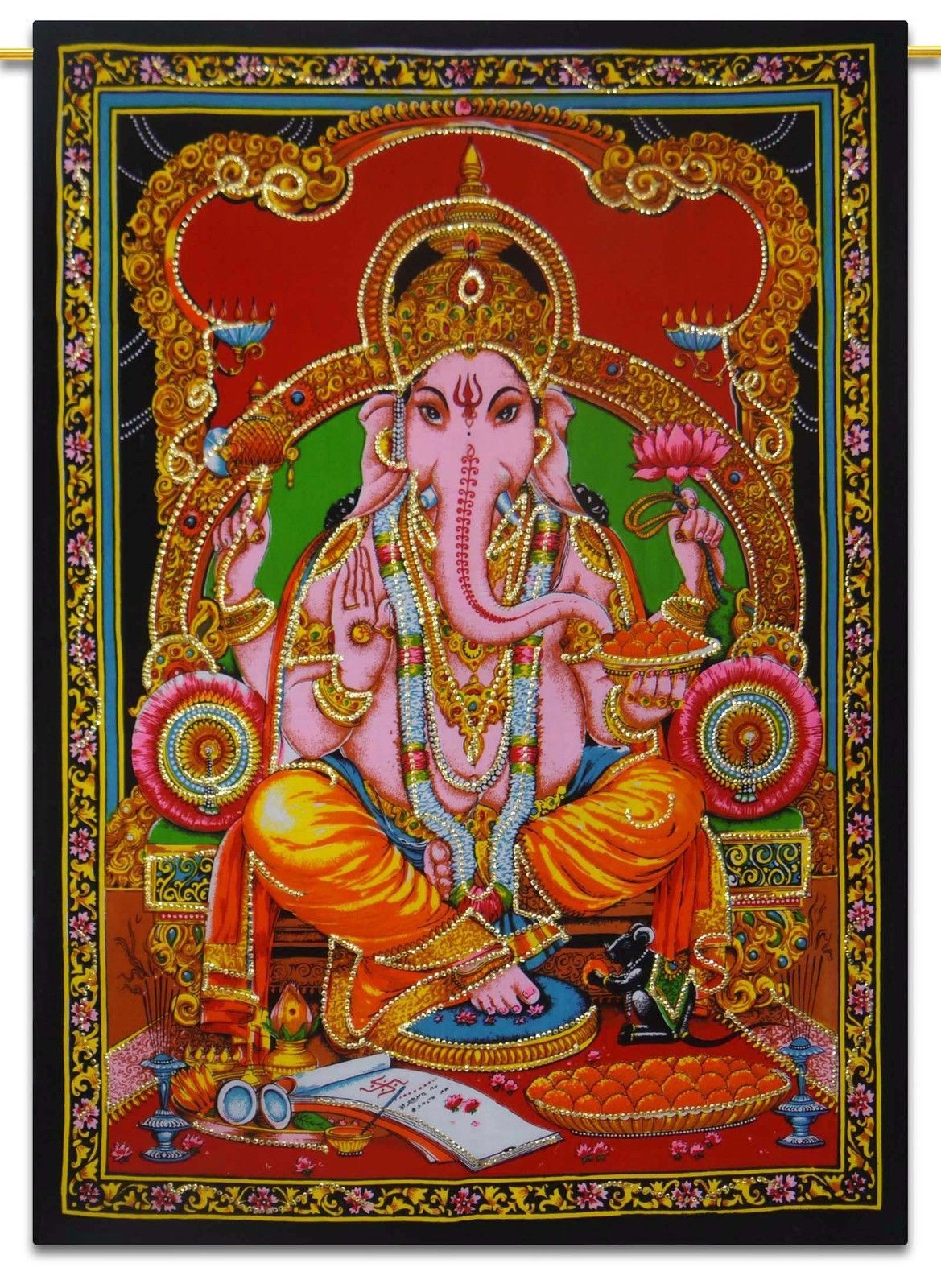 Indian Lord Ganesha Tapestry Wall Hanging Throw Wall Decor Art Poster Tapestries Hindu Elephant Indian Tapestry Elephant God