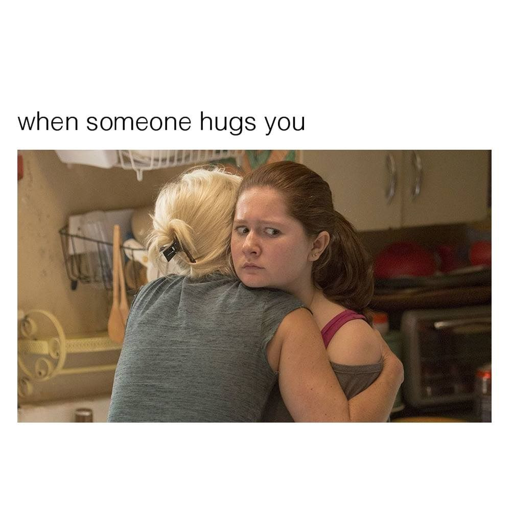 awkward hugs funny