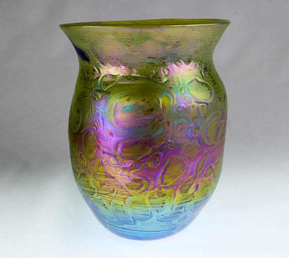 Beautiful Vasebowl With Iridescent Lusters Signed And Dated 2017