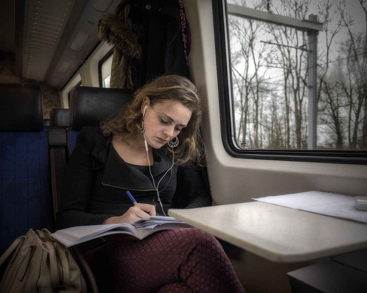 student in the train rotterdam groningen