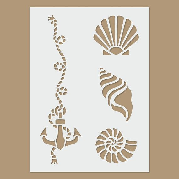Seashell Stencil Template for Walls and Crafts Reusable Stencils for Painting in Small /& Large Sizes