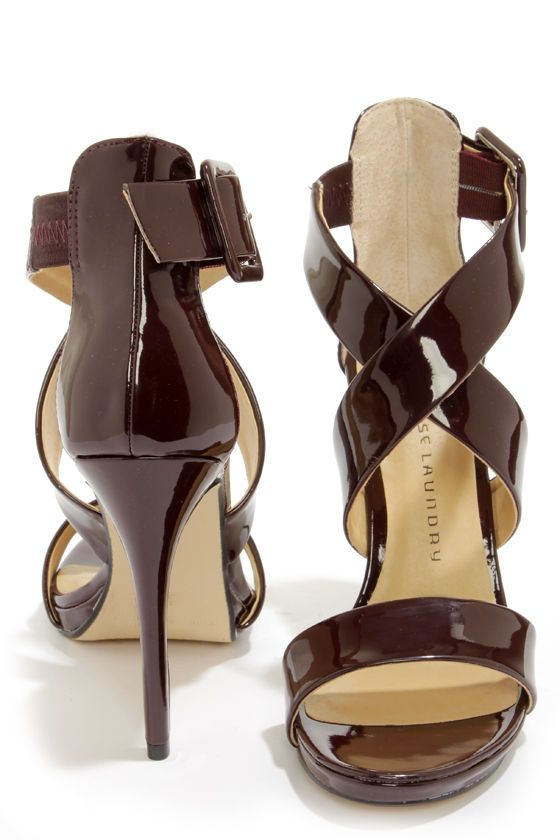 f8f4de01437 Chinese Laundry Blackjack Syrah Patent Strappy Heels at LuLus.com!