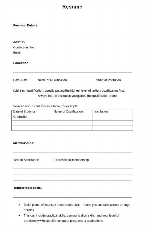 Free Blank Cv Template Download (7) TEMPLATES EXAMPLE