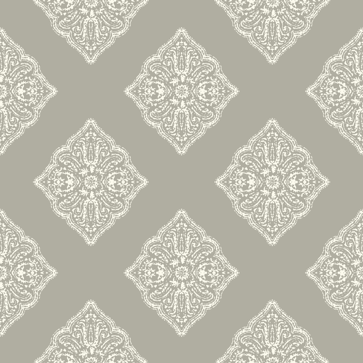 York At7027 Tropics Henna Tile Wallpaper Grey White