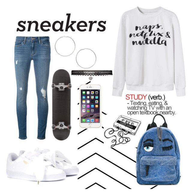 Sneakers White by myllenamorenaguerra on Polyvore featuring polyvore, fashion, style, Levi's, Puma, Chiara Ferragni, Betsey Johnson, Miss Selfridge, CASSETTE, clothing and sneakerswhite