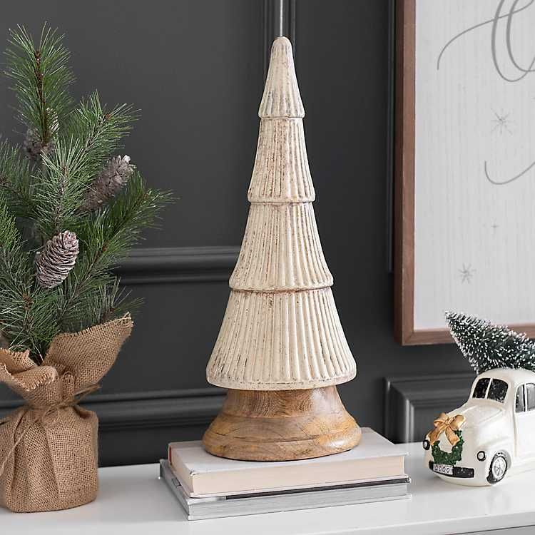 Matte Silver Glass Tree with Wooden Base, 17 in | Glass ...
