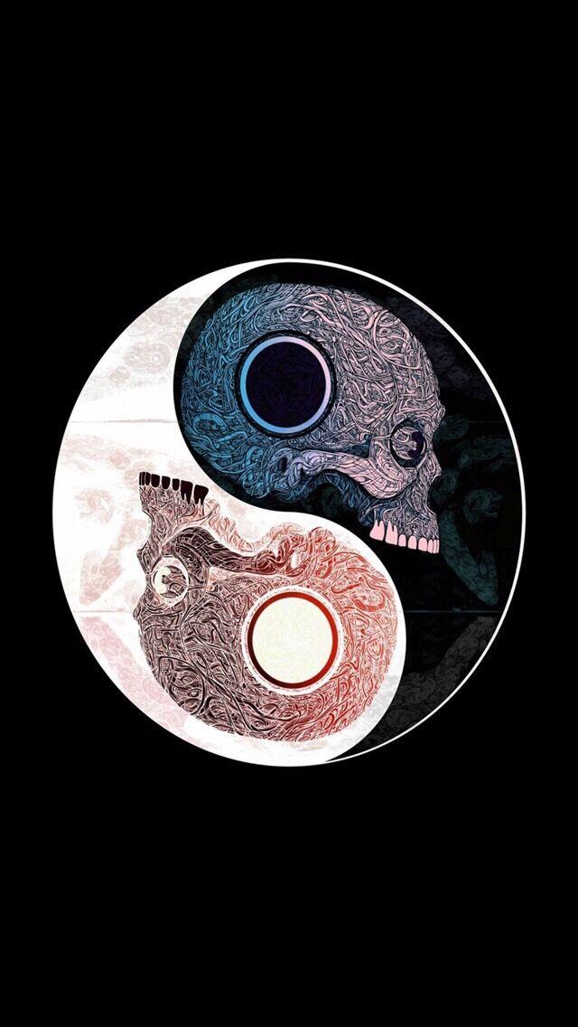 Calaveras En Ying Yang Skull Wallpaper Skull Art Ying Yang Wallpaper
