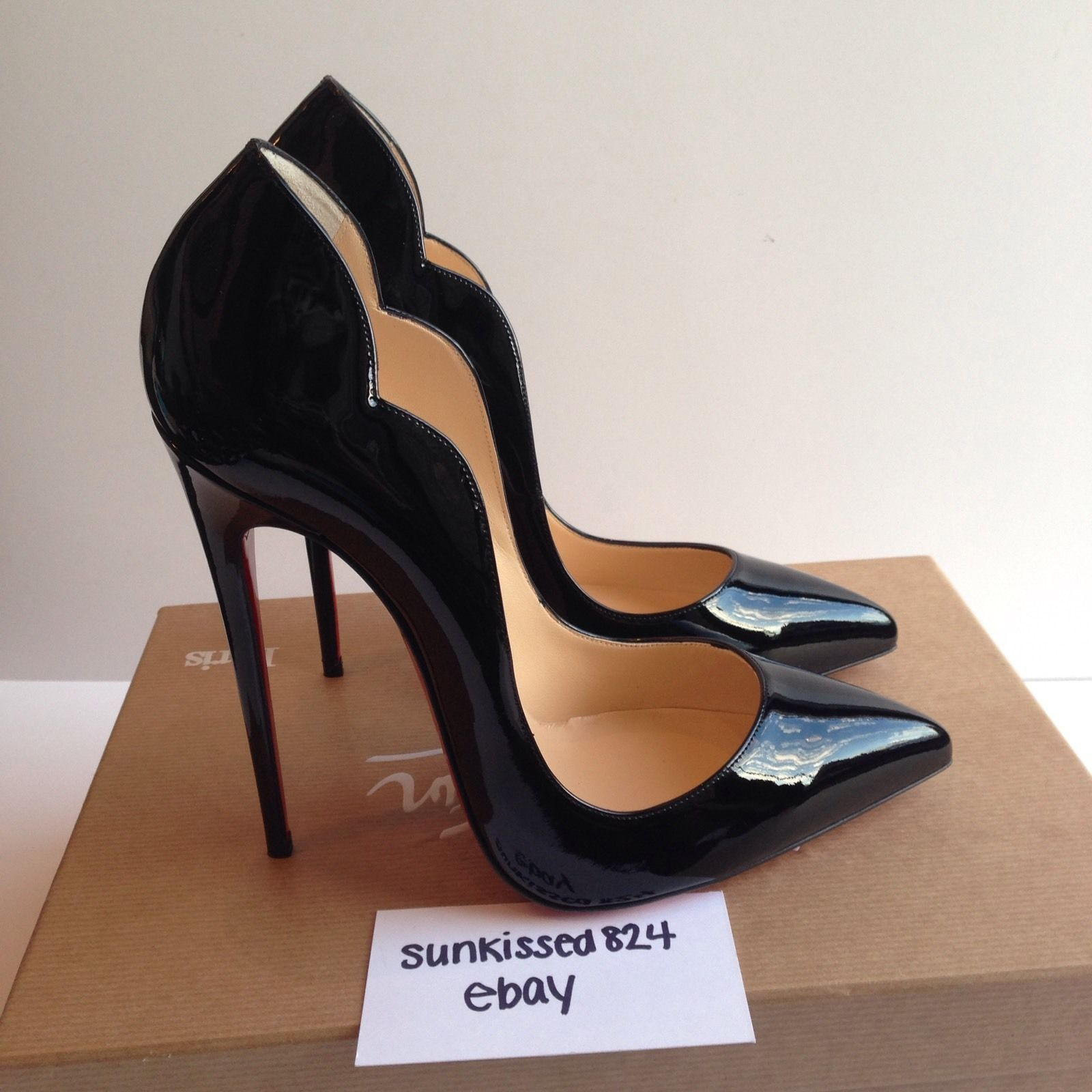 2efbb75a9797 Christian Louboutin HOT CHICK 130mm Scalloped Black Patent Pumps Size 39.5