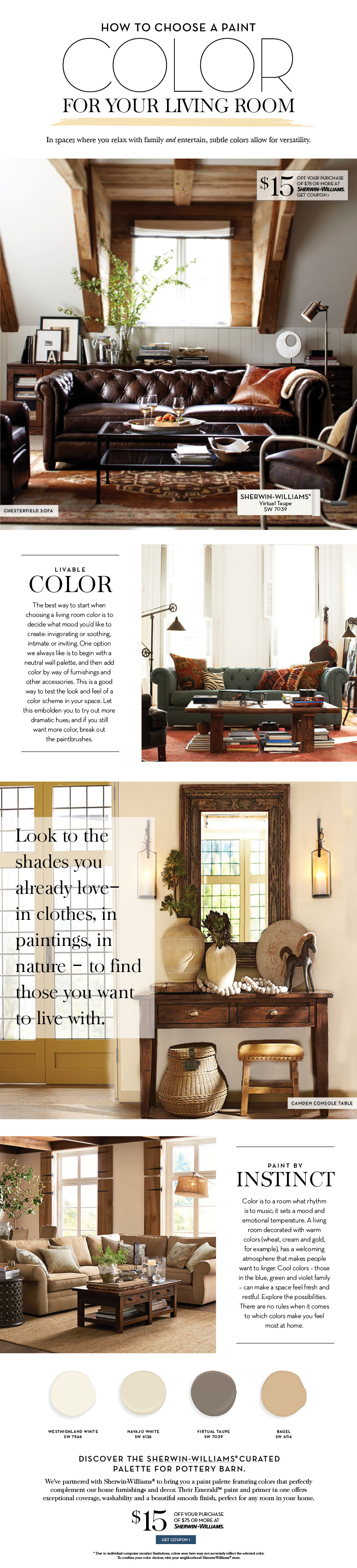 Choose a paint color for your living room pottery barn - How to pick a paint color for living room ...