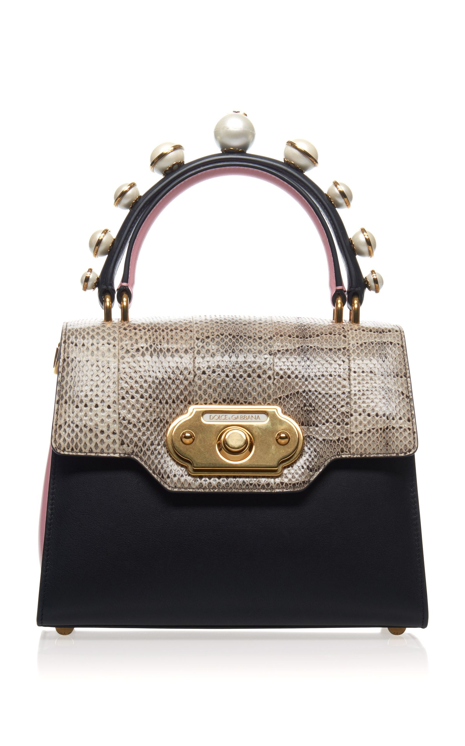 Dolce Gabbana Pearl Embellished Leather And Python Bag Dolcegabbana Bags Wallet Accessories