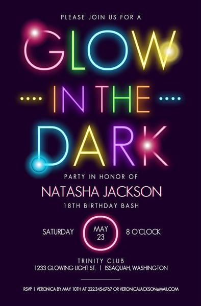 glow in the dark typography birthday party invitation in