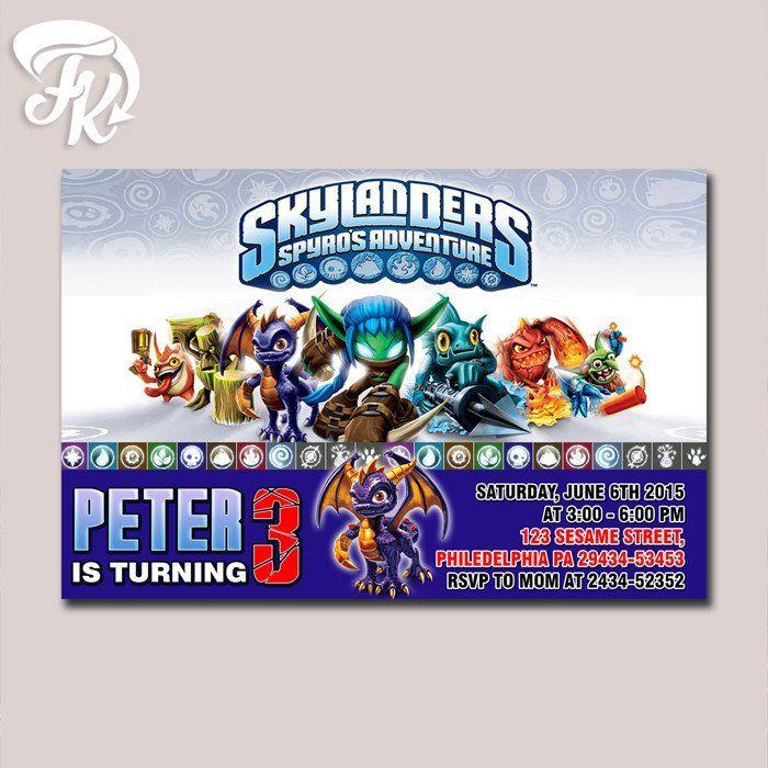 Skylanders Invitation Spyro Heroes Birthday Party Card Digital