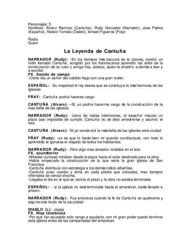 Personajes 5nombres Alvaro Ramirez Cantuña Rudy Gonzalez Narrador Jose Palma Español Nestor Tomala Diablo Is Leyenda De Cantuña Leyendas Guiones