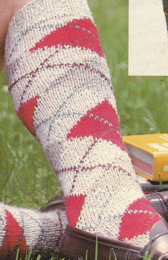 Knit Womens Argyle Socks Vintage Knitting PDF PATTERN ...