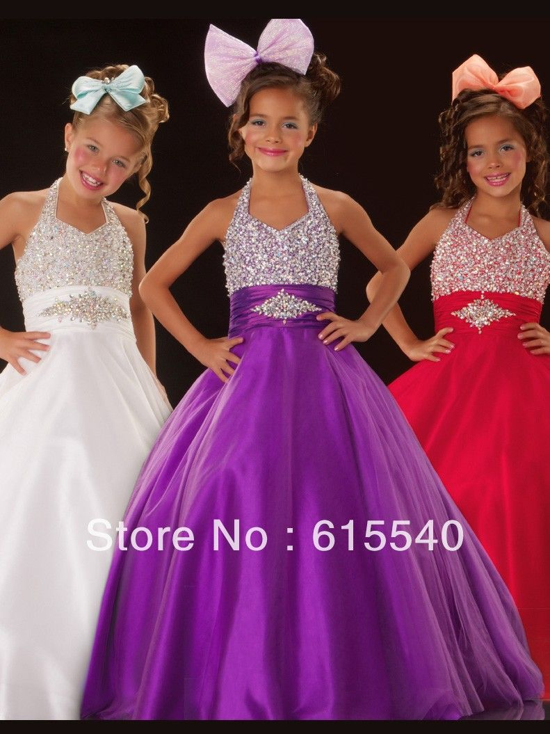 Little Girls Pageant Dresses Ball Gown Halter Floor Length Organza ...