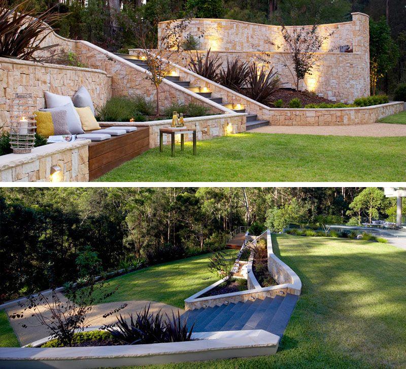 14 Beautiful Backyards With Level Difference Backyard Makeover Sloped Backyard Backyard Landscaping Designs