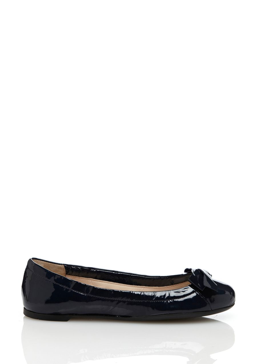 Ballerina Scrunch Flat Patent ballet flat; Slightly scrunched top line; Round toe with bow accent; Slip-on style RubbersoleWomen #Shoes