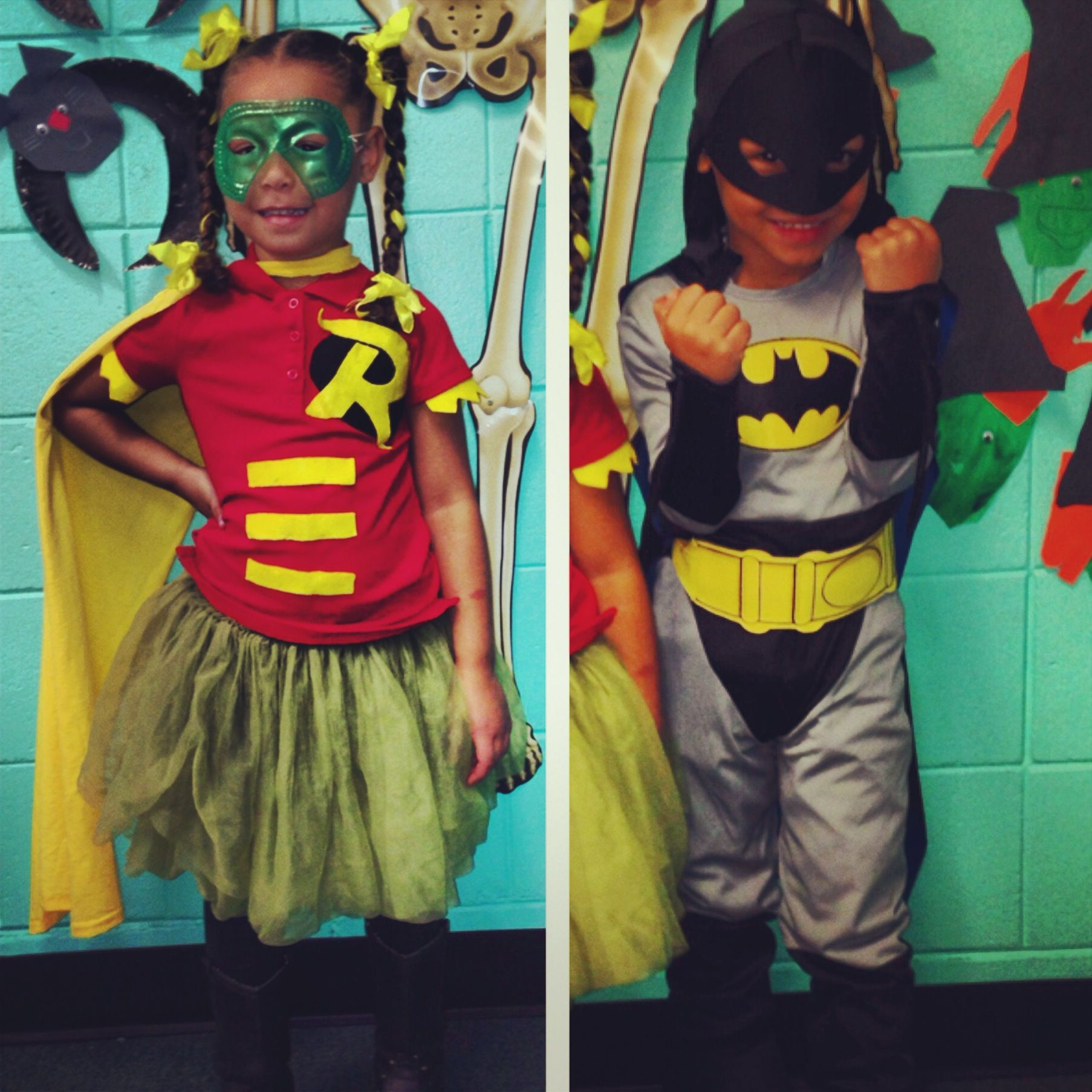 Home made Robin Store bought Batman Twin costume ideas