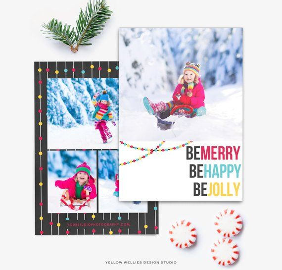 modern holiday christmas new year photoshop card template 5x7 flat card template