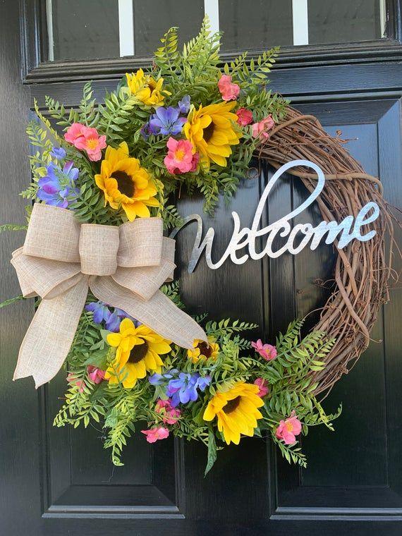 Photo of Spring wreath for front door, sunflower wreath, welcome wreath, everyday wreath, year-round wreath,