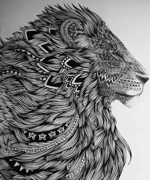 4d500b9e00c06 Aztec patterned lion majestic | Individuality | Aztec tattoo designs ...