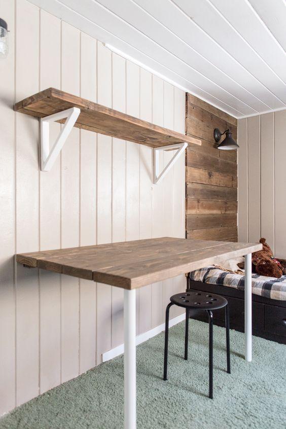 Simple Diy Wall Desk Shelf Brackets For Under 23 Desks For Small Spaces Simple Desk Desk Shelves