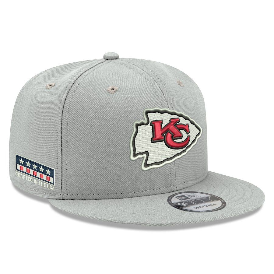 size 40 dfd18 a4012 Men s Kansas City Chiefs New Era Gray Crafted in the USA 9FIFTY Adjustable  Hat,