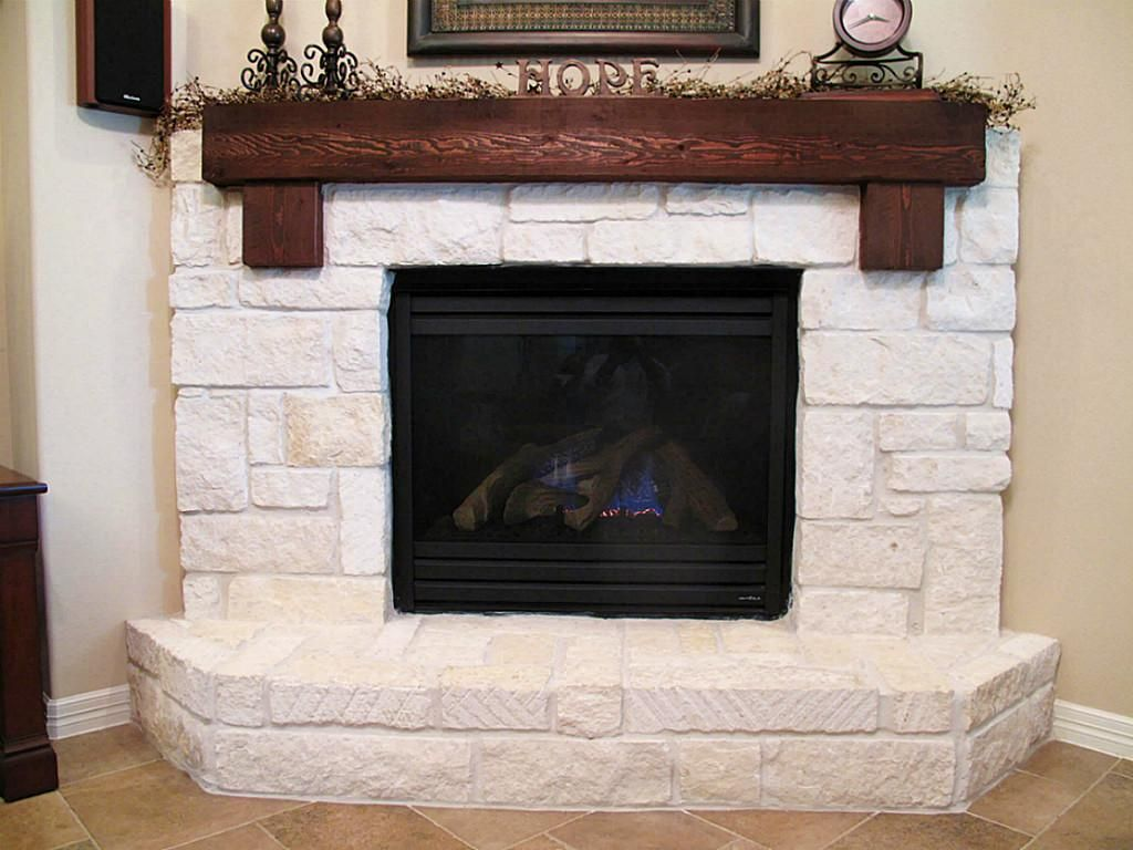 Limestone Hearth With Cedar Mantle Home Style